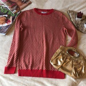 Kim Rogers S Red & Tan  geometric sweater
